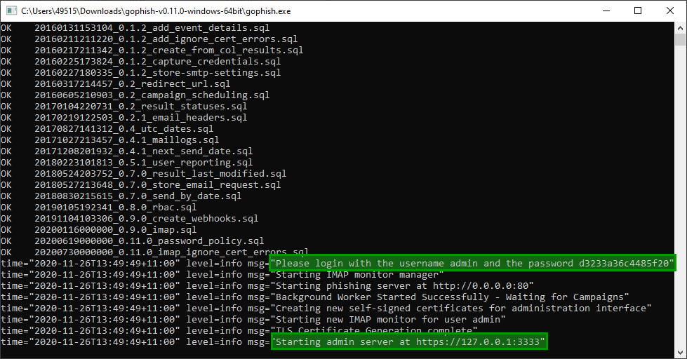 Command prompt output from GoPhish on an initial launch