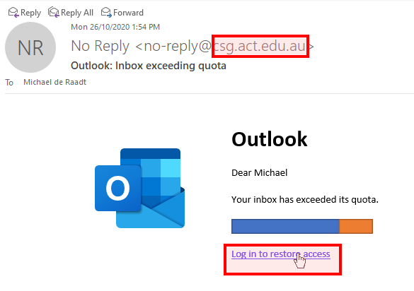 An example phishing email with problematic elements highlighted